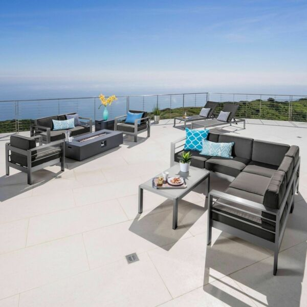 Coral Bay Outdoor Gray Aluminum 11 Piece Estate Patio Collection with Firepit