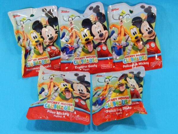 Complete Set of 5 Mickey Mouse Clubhouse Bagged Figures Disney Junior New Sealed