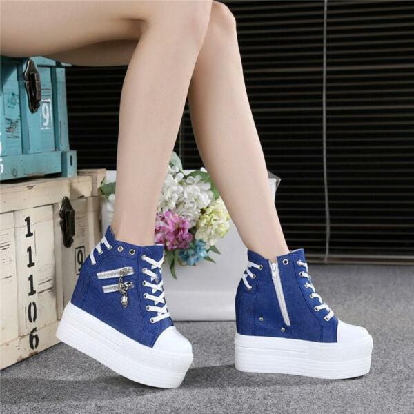 Women's Casual shoes Students Lace Up High Platform Wedge heels Canvas Sneakers