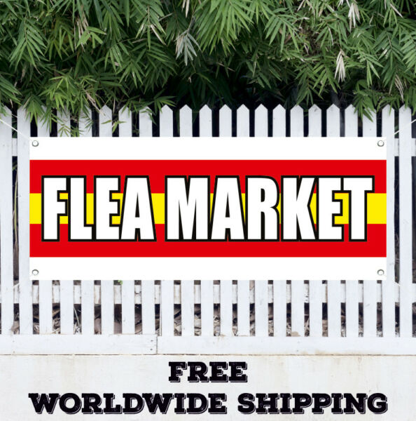 Banner Vinyl FLEA MARKET Advertising Sign Flag Produce Clothes Discount Kitchen