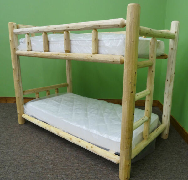 Premium Log Bunk Bed-Twin Over Twin - $599 - Free Shipping