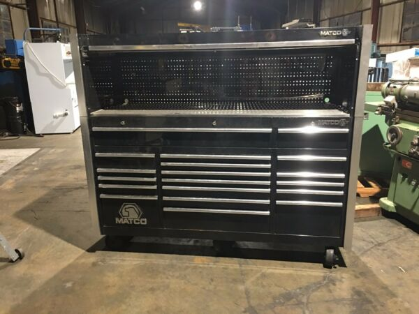 Matco Tools! Custom 3 Bay Rollaway ToolboxHutchMB7535 20 Drawers! Black! Nice