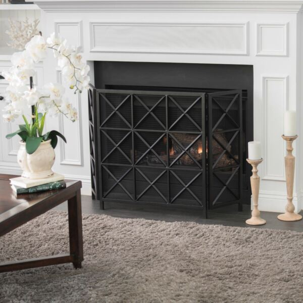 Mandralla Modern 3 Panel Iron Fireplace Screen with Cross Hatch Pattern