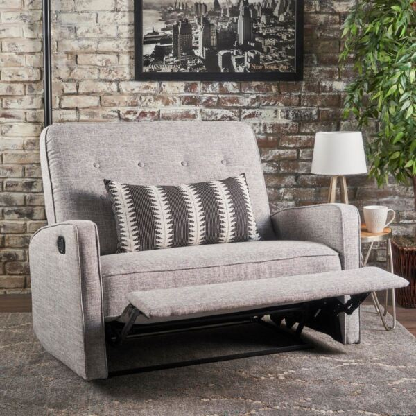 Callade Contemporary Button Tufted Upholstered Loveseat Recliner w Tonal Piping