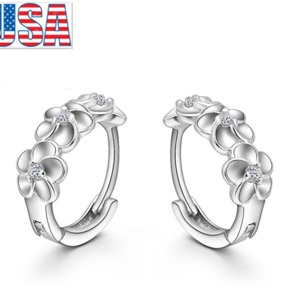 Fashion Jewelry Silver Plated Cute Flower Hoop Earrings Luxury For Woman girl $5.99