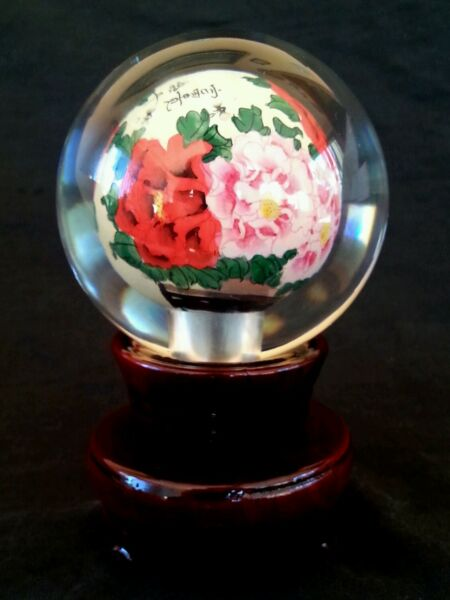 Vintage Chinese inner painted heavy glass ball on wood stand w. original box