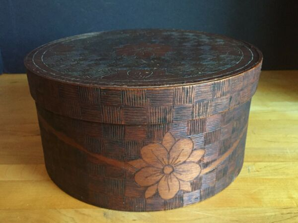 Antique Primitive Bent Wooden Pantry Box with Hand Carved Floral Decoration