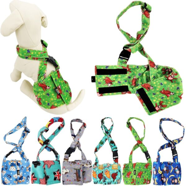 Dog BELLY BAND Wrap Diaper Male Reusable Washable Stay On With SUSPENDERS Fleece $10.99