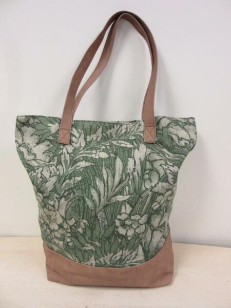 MERONA Green Jute & Cotton and Faux Leather Floral Tote Bag NEW!