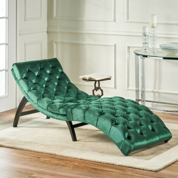 Grasby Tufted New Velvet Chaise Lounge $182.72