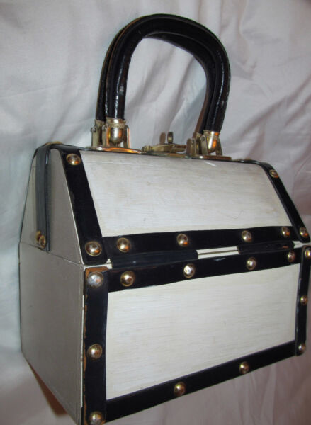SIMON MISTER ERNEST wooden  leather rivet box pirate pin up steampunk bag purse