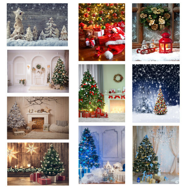 Multi-Types Christmas Tree Gift Fireplace Photography Backdrops Photo Background