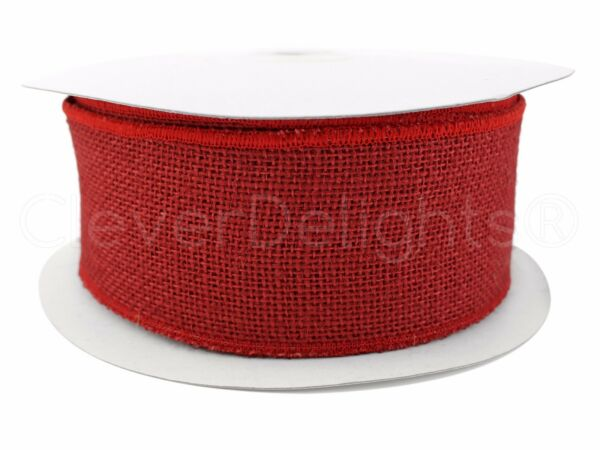 2.5quot; Red Burlap Ribbon 25 Yards Wired Finished Edges Super Fine Weave