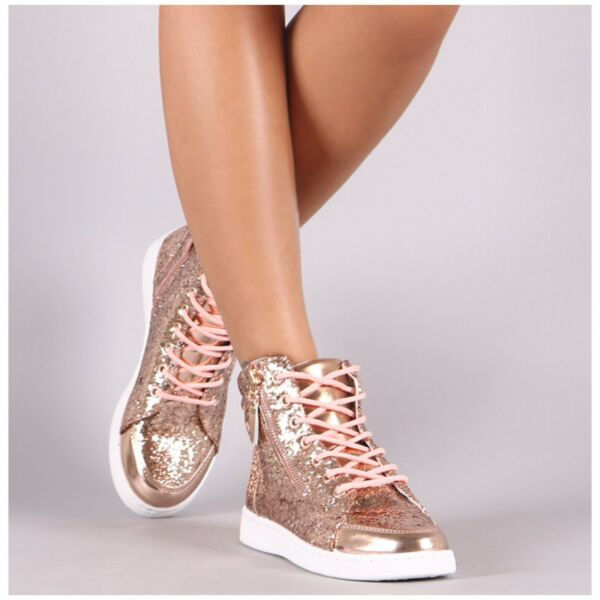 Forever ULTRA-69 Rose Gold Glitter Metallic Accent Athleisure High Top Sneaker