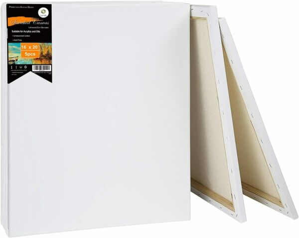 Painting Canvas Board Blank 16x20 Inch Stretched Artist Acrylic Primed Set of 5