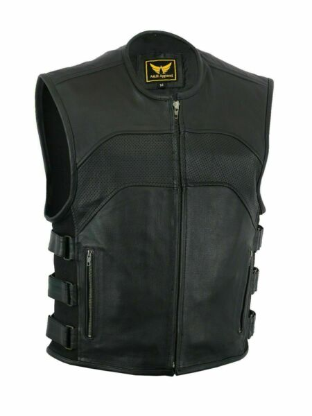 Men#x27;s SOA Motorcycle Biker Cowhide Leather Vest Anarchy Club Concealed Carry $62.99