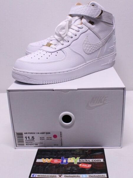 Nike Just Don Air Force One AF1 White Gold Limited Sneakers Men's Size 11.5 New