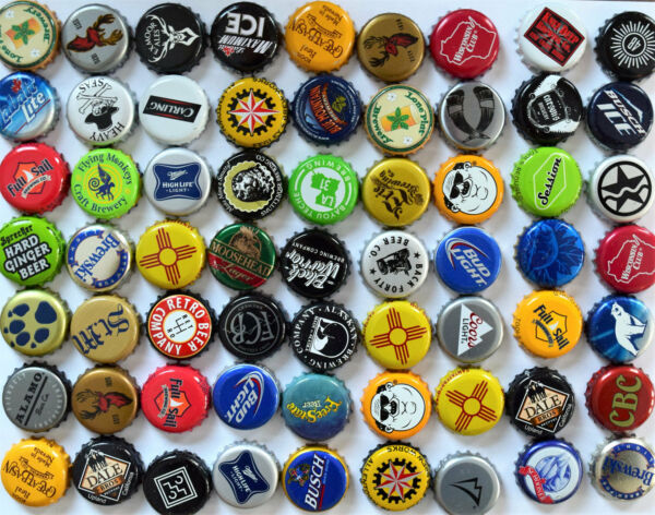 100 MIXED Beer Bottle Caps No dents. Great mix Assortment. Free Fast Ship