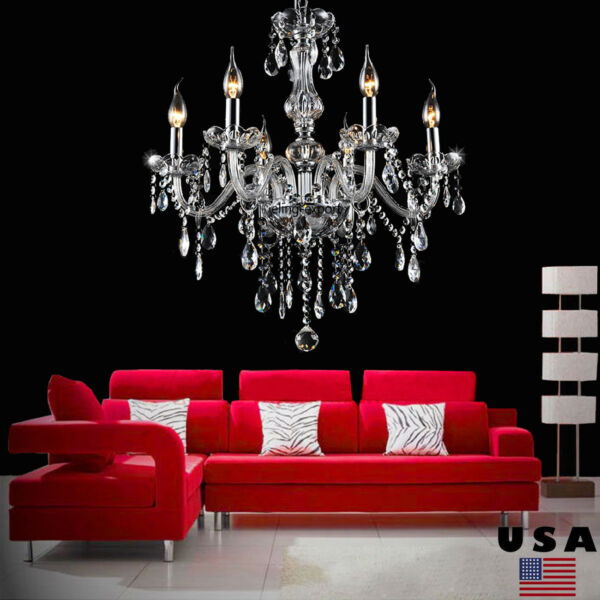 Clear Crystal Chandelier Lighting 6 Lights Fixture Pendant Ceiling Lamp Wedding