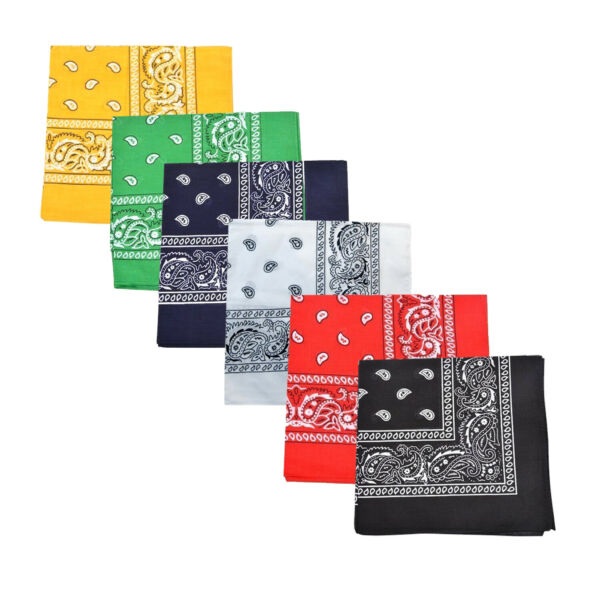 Pack of 6 X Large Paisley 100% Cotton Double Sided Printed Bandana - 27 x 27