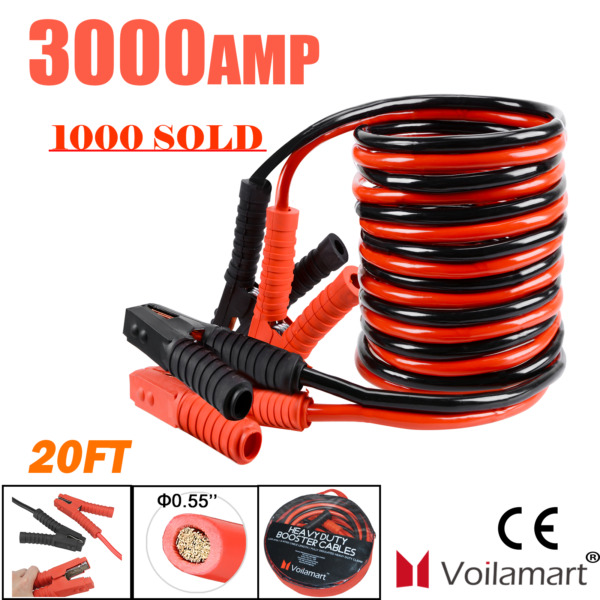 0 Gauge 3000AMP Booster Cables 20FT Car Jumper Leads Van Heavy Duty Battery