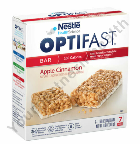 OPTIFAST 800 BARS - APPLE CINNAMON - 1 BOX - 7 SERVINGS - FRESH DATES