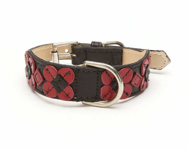 Flower Stitch Tapered Dog Collar Small Size 9 11 Black with Red Flowers $40.00