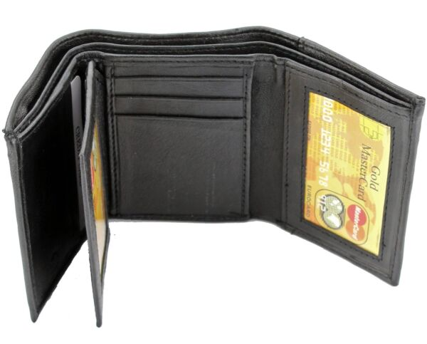New Mens Black Genuine Leather Trifold Wallet ID Window Credit Card Case Holder $7.99