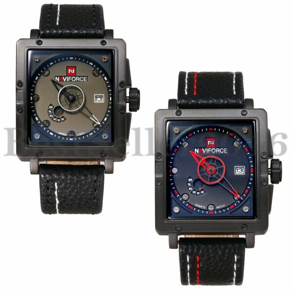 Military Waterproof Men#x27;s Square Dial Date Leather Quartz Analog Wrist Watch
