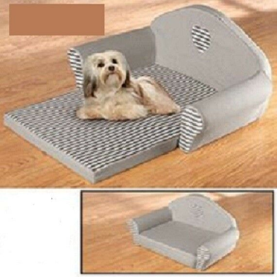 Grey Heart amp; Stripes Pet Recliner Sofa Pet Bed Large $14.00