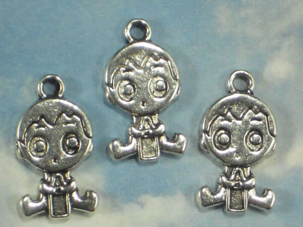 6 Cute Baby Charms Boy Holding Bottle Antique Tibetan Silver Tone 2 Sided #P1769 $2.95