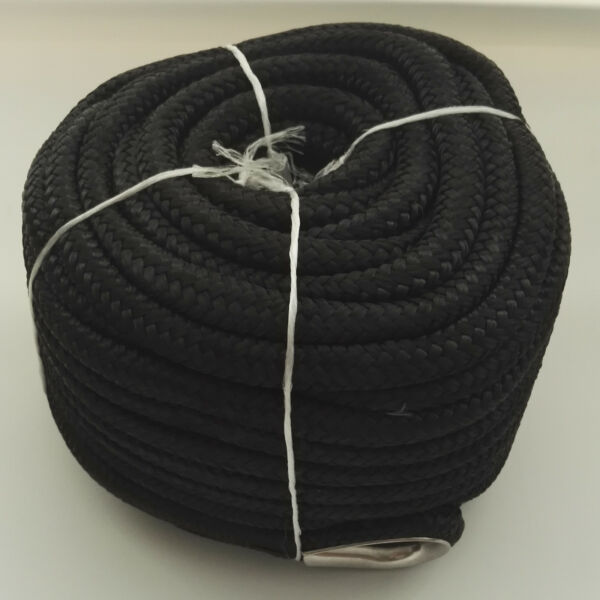 12″ X 100′ ANCHOR LINE BLACK DOUBLE BRAID NYLON ROPE W STAINLESS STEEL THIMBLE