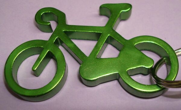 NEW Aluminium 2quot; Long GREEN BIKE Bicycle Key chain bottle opener with KEY RING $7.99