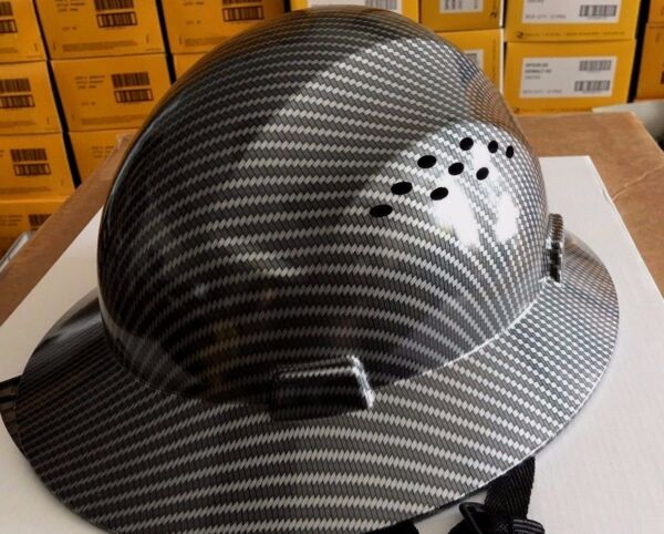 HDPE Hydro Dipped Black Full Brim Hard Hat with Fas-trac Suspension  Cool Air Fl