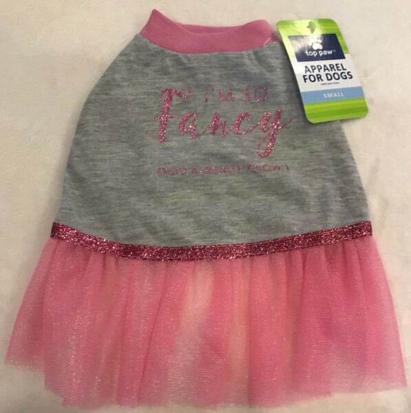quot;I#x27;m So Fancyquot; Dog Dress SMALL Pink Gray quot;You already knowquot; Top Paw NWT $8.99