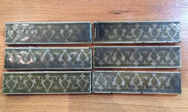 """ANTIQUE LOT of 6 AE TILE CO LTD 6"""" GREEN wDESIGN VICTORIAN STYLE FIREPLACE TILE"""