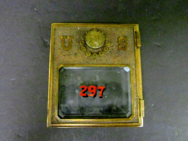 Antique Yale Push Button #2 Post Office Postal Box Door Front w Beveled Glass