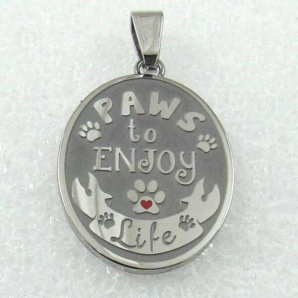 quot;Paws to Enjoy Lifequot; Necklace Dog Paw Print Stainless Steel Silver Pendant $24.99