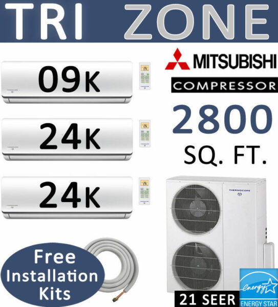 21 SEER Tri Ductless Mini Split Air Conditioner Heat Pump 9000 BTU + 24000 x 2