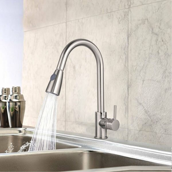 Pull-Out Spray Brushed Nickel Kitchen Faucet Single Handle Swivel Mixer Tap