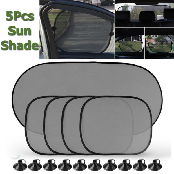 5X Black Baby Car Window Sun Shade Visor Screen Protection Kids Rear Side Shield