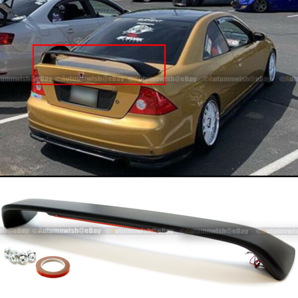 For 01 05 Honda Civic 2DR Primered Black Trunk Spoiler Wing LED Brake Light Lamp