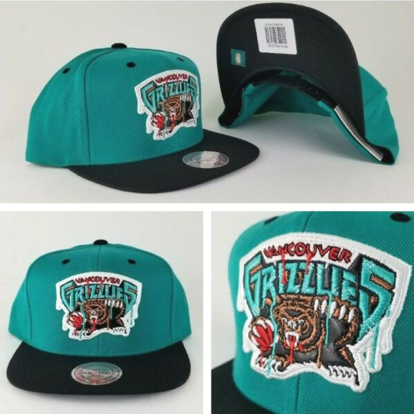 Mitchell & Ness Vancouver Grizzlies Teal  Black paint dripped snapback Hat