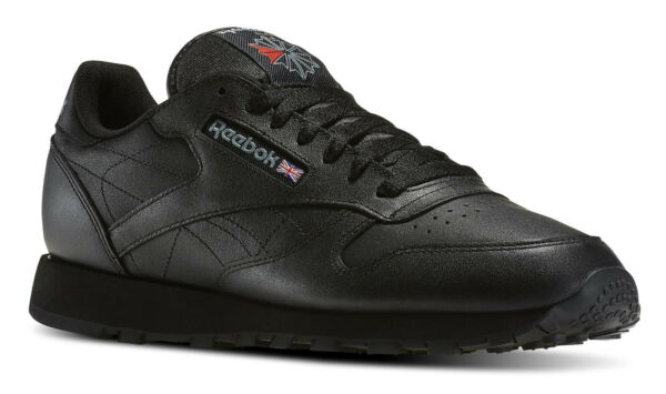 Reebok Classic Leather Black Mens Running Tennis Shoes Item 116