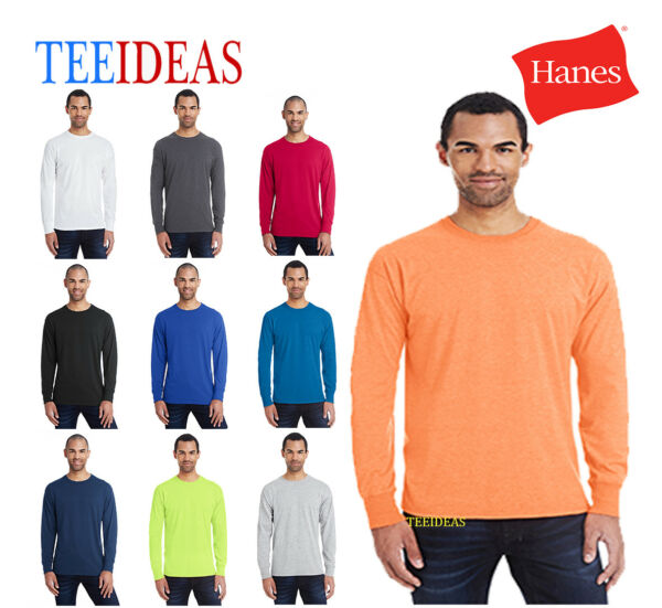 Hanes Men's 6040 Ringspun CottonPolyester X-Temp Long-Sleeve T-shirt-42L0