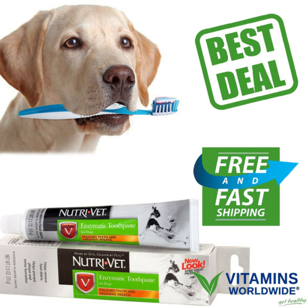 ENZYMATIC CHICKEN FLAVORED Canine Toothpaste Dog Teeth Care NUTRI VET 2.5 Ounce $6.32