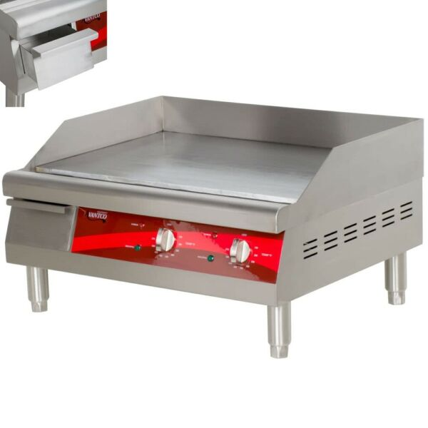 Avantco 24quot; Electric Commercial Countertop Steel Flat Top Griddle Grill 208 240V