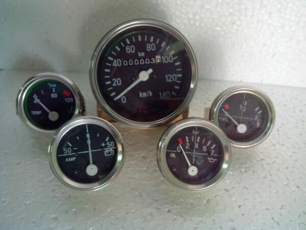 Gauges Kit - Speedometer 140 kph+Temp Elec+Oil Mech M10x1 Thread+Fuel+ Ampere