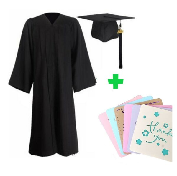 Graduation Cap and Gown 2018 Year Charm Bachelor Unisex + 6 Free Greeting Cards