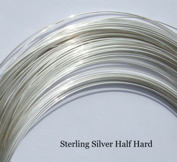 Sterling Silver Half Hard Round Wire 0.40.50.60.70.80.9 and 1mm Silversmith